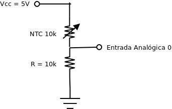 Resultado de imagem para ligação termistor como divisão de tensão
